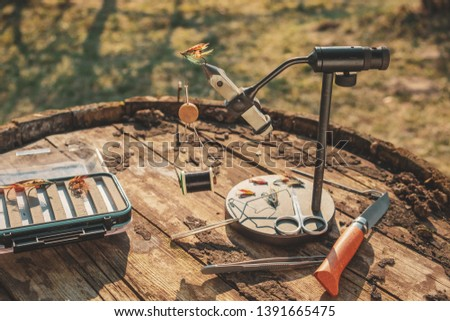 Tools for fly tying. Fly fishing