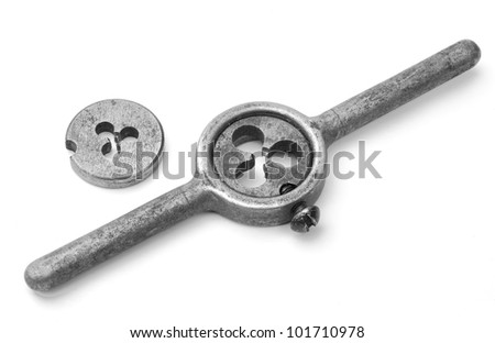 Tools for making carving on the white background - stock photo