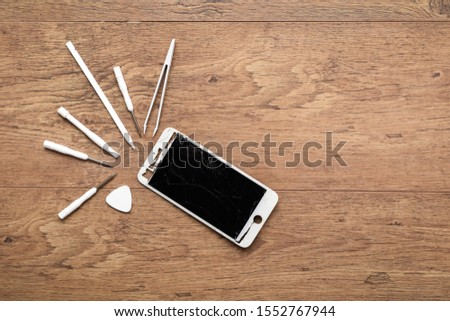 Tools for phone repair by mobile phone technician or to use to fix smartphone yourself