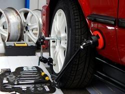 Tools For Wheel Rims Repairing At Car Service Workshop