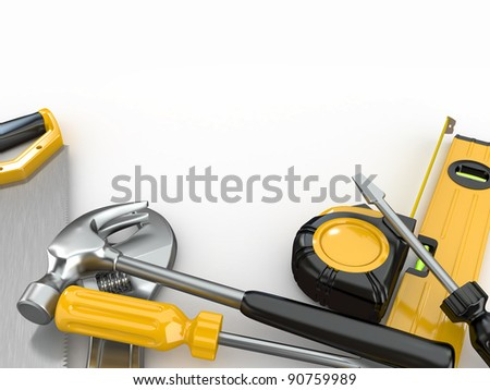 Tools. Hammer, screwdriver, wrench and other. 3d
