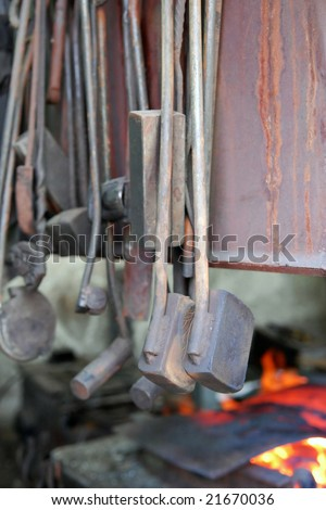 Tools hanging in a smithy