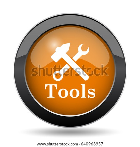 Tools icon. Tools website button on white background.