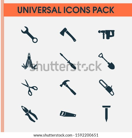 Tools icons set with nail, hammer, screwdriver and other axe elements. Isolated illustration tools icons.
