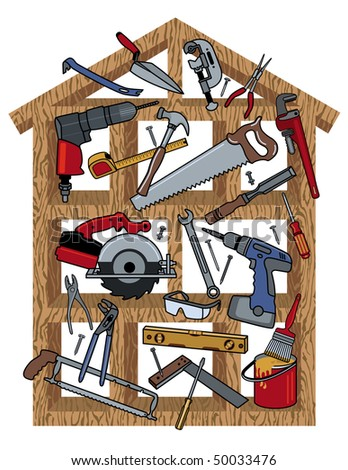 Tools in a wood frame house.