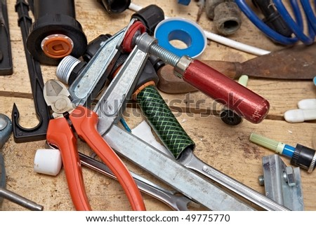 Tools in a workshop in a mess