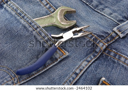 Tools, Instrument, Pliers, WRENCH, Blue, Insulation, Plastic, Metal, Pocket, Jeans