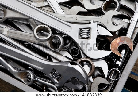 Tools. Metal hand tools background