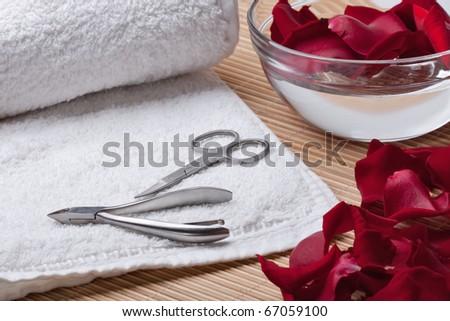Tools of a manicure set