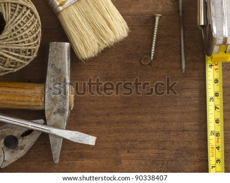 tools  on the wooden background