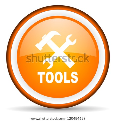 tools orange glossy circle icon on white background