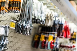 Tools put up for sale in a hardware store