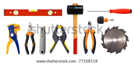 Tools set isolated over white background.
