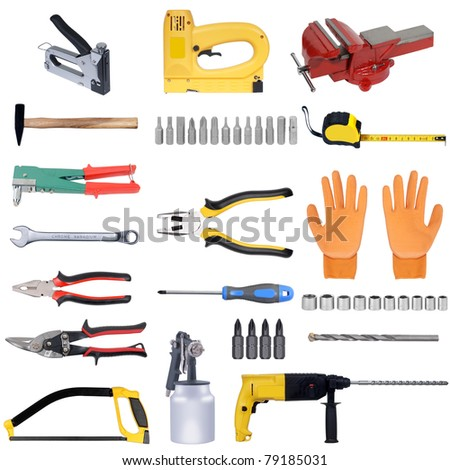tools set isolated over white background - stock photo