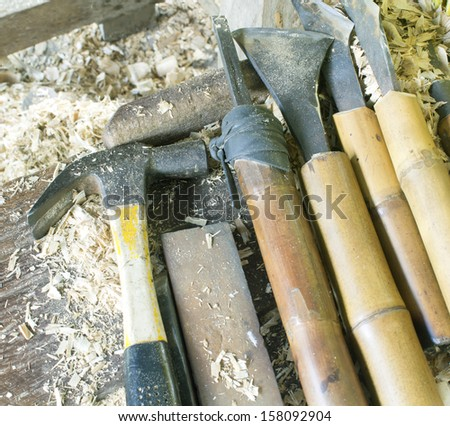 tools used with turning wood on a lathe.