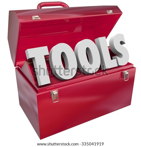 Tools word in 3d letters in red metal toolbox to symbolize skills, resources and capabilities