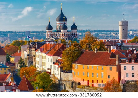 Toompea hill with tower Pikk Hermann and Russian Orthodox Alexander Nevsky Cathedral, view from the tower of St. Olaf church, Tallinn, Estonia. #331780052