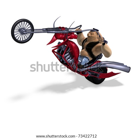 toon animal big pig as a biker. 3D rendering with clipping path and shadow over white