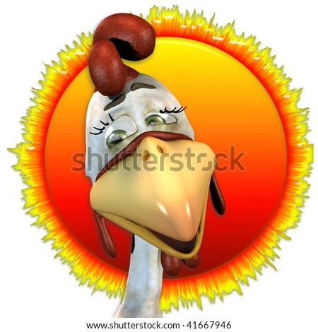 Toon Rooster with a sun background