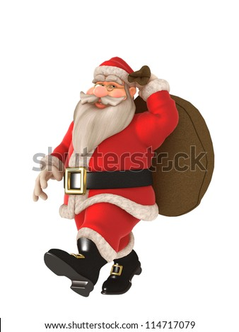 Toon Santa with twinkling eyes and glasses carrying toy sack