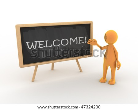Tooney character is welcoming you to his lectures! - stock photo