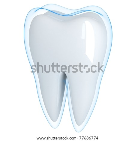 Tooth and blue shell  (done in 3d, isolated)