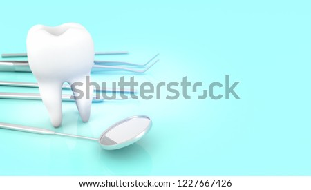 tooth and dentist equipment 3d rendering #1227667426