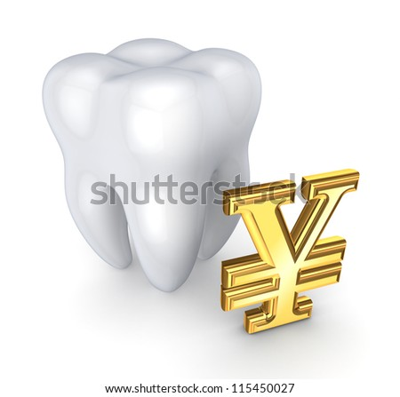 Tooth and symbol of yen.Isolated on white background.3d rendered.