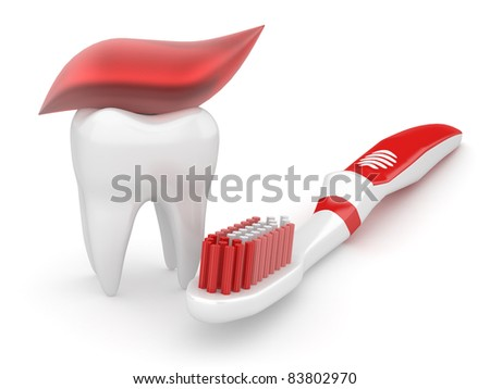 Tooth and toothbrush on white isolated background. 3d