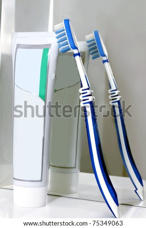 tooth-brush with a tooth-paste for dents