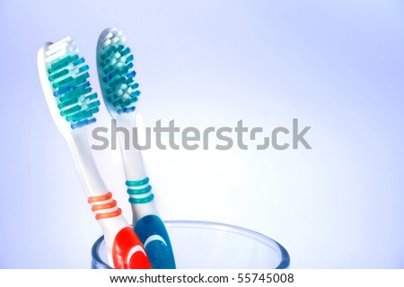 Tooth brushes in the glass