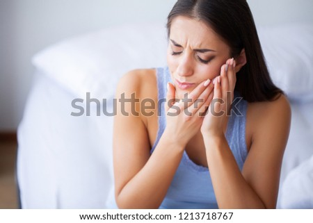 Tooth Pain. Beautiful Woman Feeling Strong Pain, Toothache. Сток-фото ©