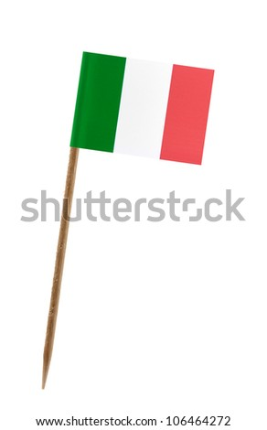 Tooth pick wit a small paper flag of Italy