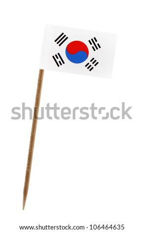 Tooth pick wit a small paper flag of South Korea