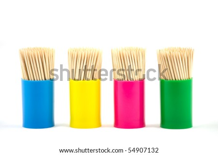 Tooth picks in jar shot isolated on white background - stock photo
