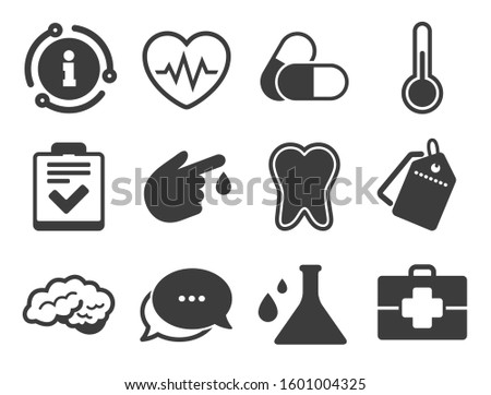 Tooth, pills and doctor case signs. Discount offer tag, chat, info icon. Medicine, healthcare and diagnosis icons. Neurology, blood test symbols. Classic style signs set.
