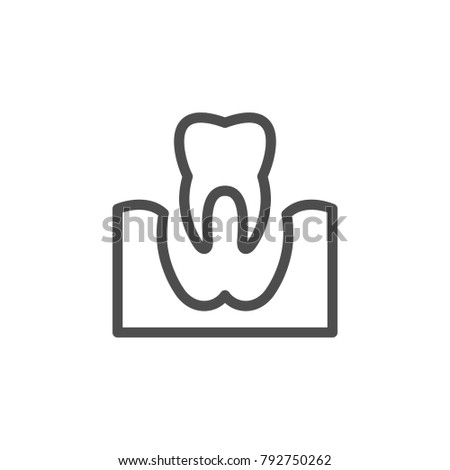 Tooth removal line icon isolated on white