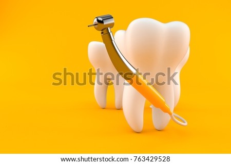 Tooth with dental tool isolated on orange background. 3d illustration