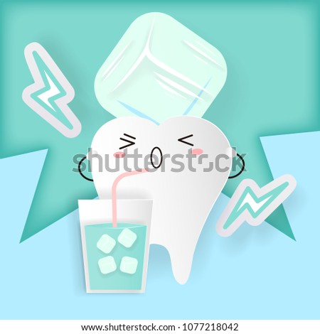 tooth with sensitive problem on the blue background