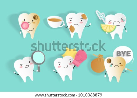 tooth with sensitive problem on the green background