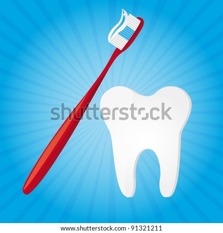 toothbrush and tooth over blue background illustration
