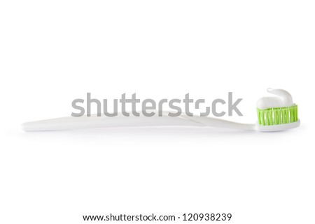 Toothbrush with toothpaste ready for use. Isolated on a white.