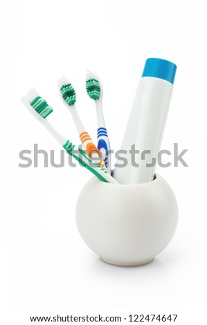 Toothbrushes white and color