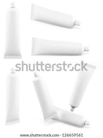 Toothpaste white tube different views