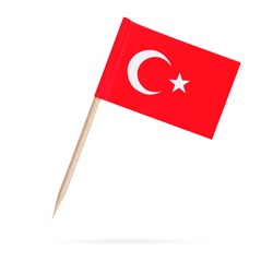 Toothpick paper flag Turkey. Isolated Turkish toothpick flag on white background. With shadow below