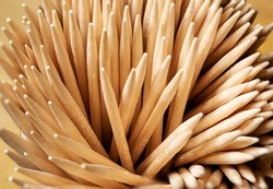 toothpicks arranged in bulk. Dental care accessory