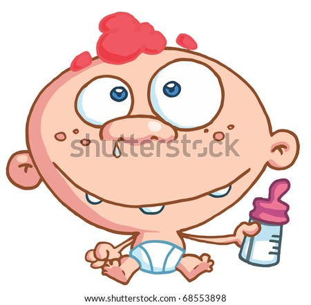 Toothy Baby With Freckles And Red Hair