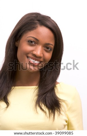 Toothy smile of cheerful young Afro American female with dark long hair