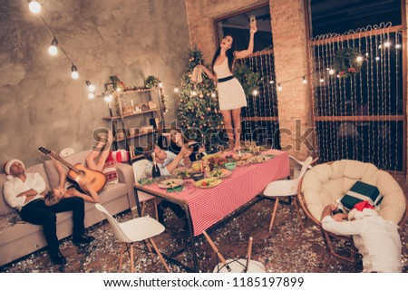 Top above high angle view of beautiful attractive stylish classy elegant cheerful funky people, girl dancing on dinner table with martini, guys sleeping, house chill-out #1185197899