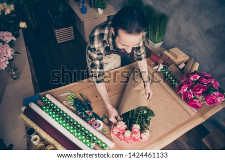 Top above high angle view photo of positive cheerful content person people self-employed touch hold hand rosebud nature floral botany desk desktop 8-march wear checkered shirt glasshouse occupation #1424461133